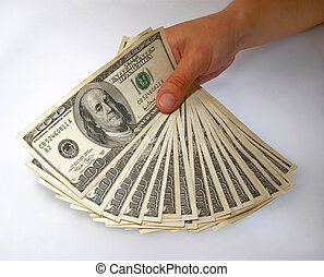 Hand displaying a bundle of dollar bills - Hand displaying a...