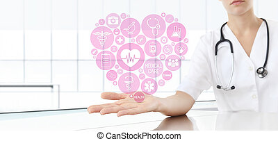 hand doctor with medical heart icons
