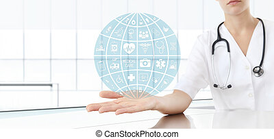 hand doctor with medical icons