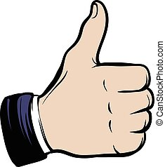 Hand doing a thumb up icon cartoon