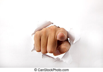 hand, doorbreken, de, witte , papier, met, pulken pointing,...