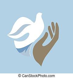 Hand & dove - A hand realeasing a dove, editable vector...