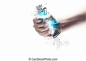 hand, drücken, tastatur