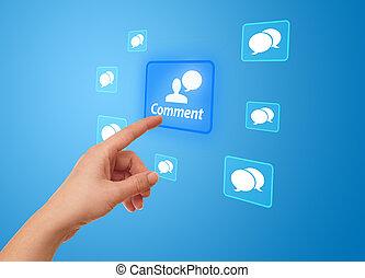 hand, drücken, vernetzung, ikone, sozial