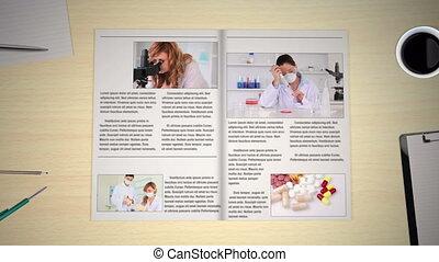 hand, draaien, pagina's, van, medisch, nieuws