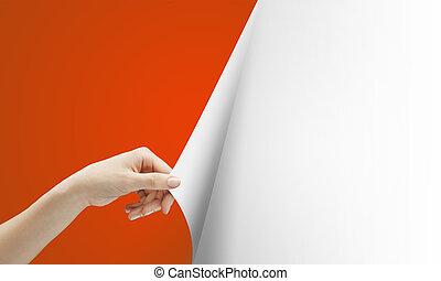 hand, draaien, rood, pagina
