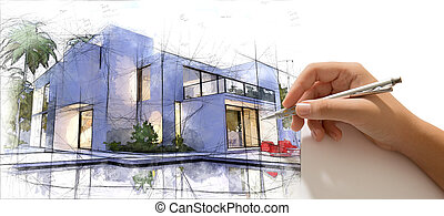 Hand drafting a luxurious house with pool