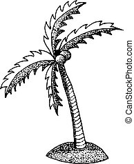 hand draw a palm tree in the style of the sketch to design cards, textiles, coloring, tattoo white