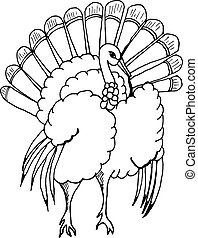 hand draw a turkey in the style of the sketch for the decoration of cards, gifts, textiles, colorings, to celebrate Thanksgiving on a white background