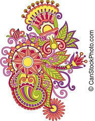 abstract henna mendie flower design element