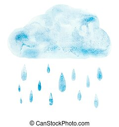 Hand draw aquarelle art paint blue watercolor cloud rain...