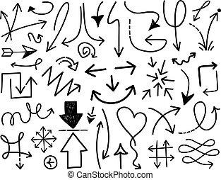 Hand draw arrow vector set 3