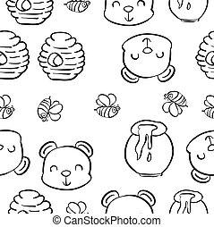 Hand draw bear honey pattern style