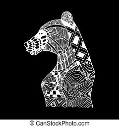 Hand draw bear patterns in the style of zentangle, Doodle