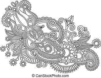 Hand draw black and white line art ornate flower design....