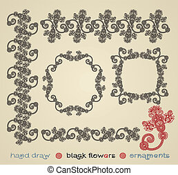 black flower ornament and frame