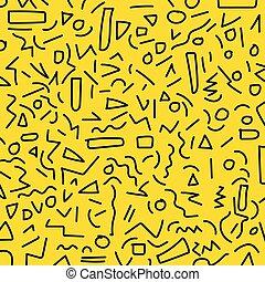 Hand draw black geometric memphis pattern 80's-90's styles on yellow background.
