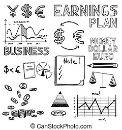 Hand draw business finance doodle sketch money icon, dollar...