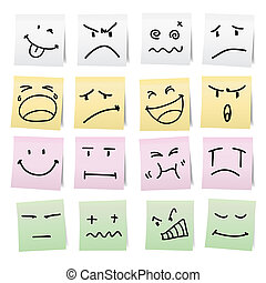 Hand draw cartoon on paper note. - Hand draw cartoon on...