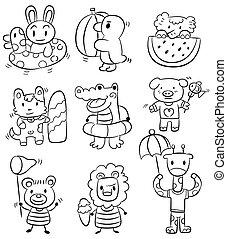 hand draw cartoon summer animal ico