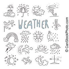 Hand draw cartoon weather events doodle icons