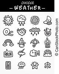hand draw cartoon weather icons set
