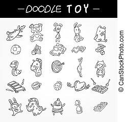 hand draw child toy icons set