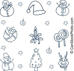 Hand draw christmas collection doodle