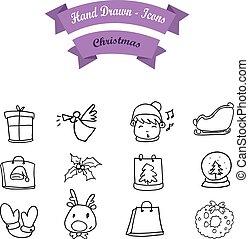 Hand draw Christmas icon set