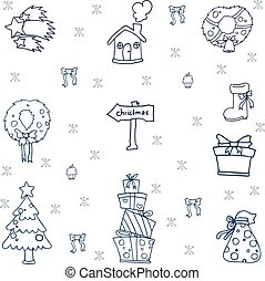 Hand draw christmas set of doodle