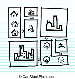 Hand draw city map , zoning .Illustration