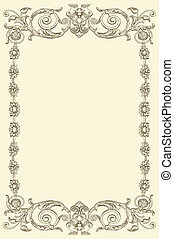 classical vintage old frame design - hand draw classical ...