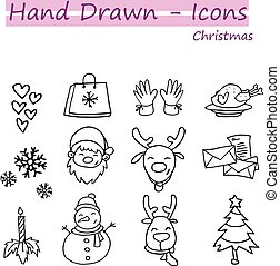 Hand draw collection Christmas icon set