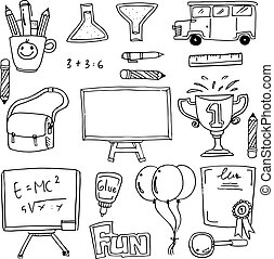 Hand draw collection school doodles