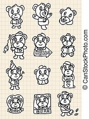 hand draw cute bear element