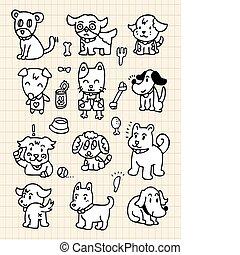 hand draw cute dog element