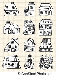 hand draw cute house  - hand draw cute house
