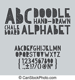 Hand draw doodle abc, alphabet grunge scratch type font vector illustration