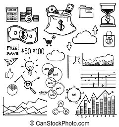 Hand draw doodle elements money and coin icon, chart graph....