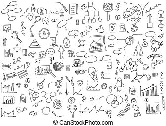 Hand draw doodle elements money and coin icon, chart graph. Concept business finance analytics earnings. Vector illustration.