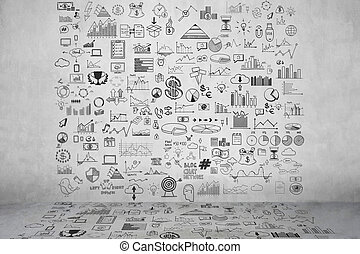 Hand draw doodle elements money and coin icon, chart graph. Concept bank business finance analytics earnings.
