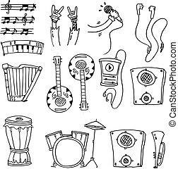 Hand draw doodle of music set