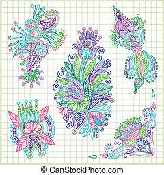 doodle vector flower element set