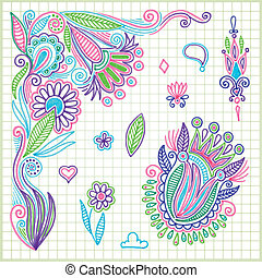 doodle vector flower element