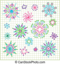 doodle vector star element set