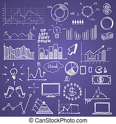 hand draw doodle charts web charts business finanse elements on chalk board.