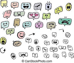 Hand draw face emoji message with different emotions icon