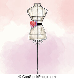 hand draw Fashion Illustration watercolor - mannequin...