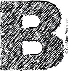 Hand draw font. LETTER B. Vector illustration
