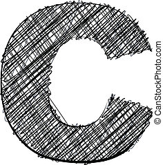 Hand draw font. LETTER C